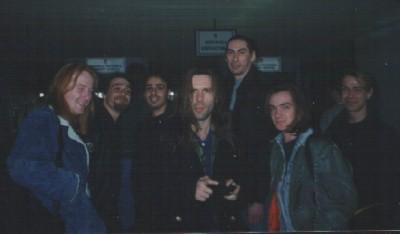 "Andy Veasey, Alex ""Sponder"" Elena, Bruce Dickinson- you know him already, Bob Edwards guitar tech, Alex Dickson guitarist and Roland Hyams"