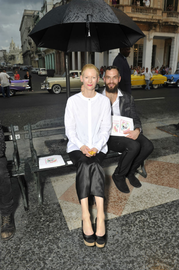 Cruise 2016-17 collection_Photocall pictures by Stephane Feugere_Tilda SWINTON & Sandro KOPP