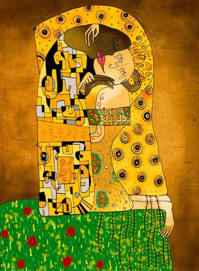 Poljubac, Gustav Klimt, ulje na platnu, 1907-1908.