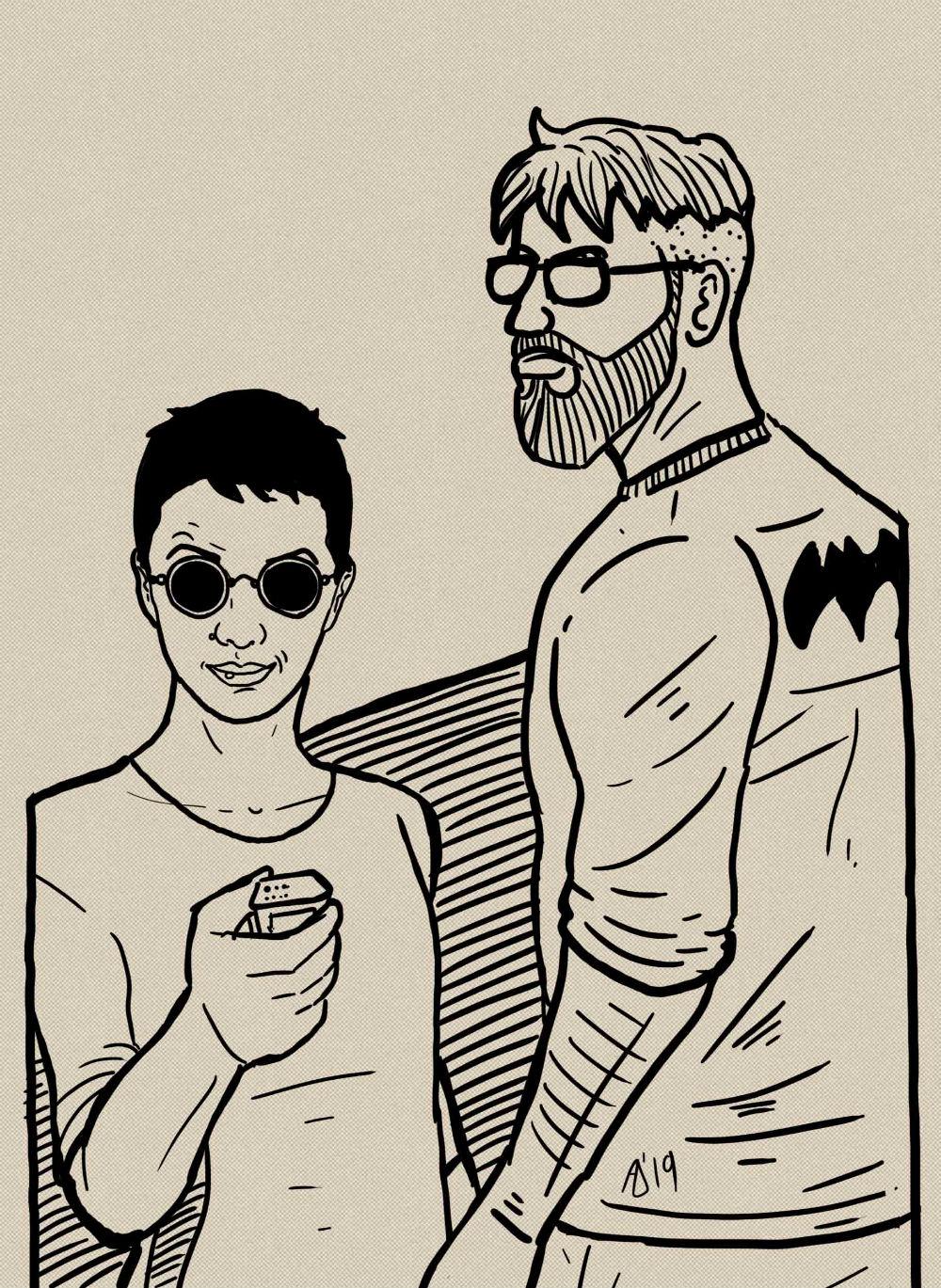 ekskluzivna ilustracija nacrtana za ovaj intervju / Besima Svraka, urednica FBL i Admir Delić, ilustrator