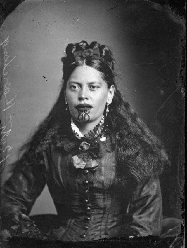 žena sa moko tetovažom na licu, Novi Zeland, 1905.