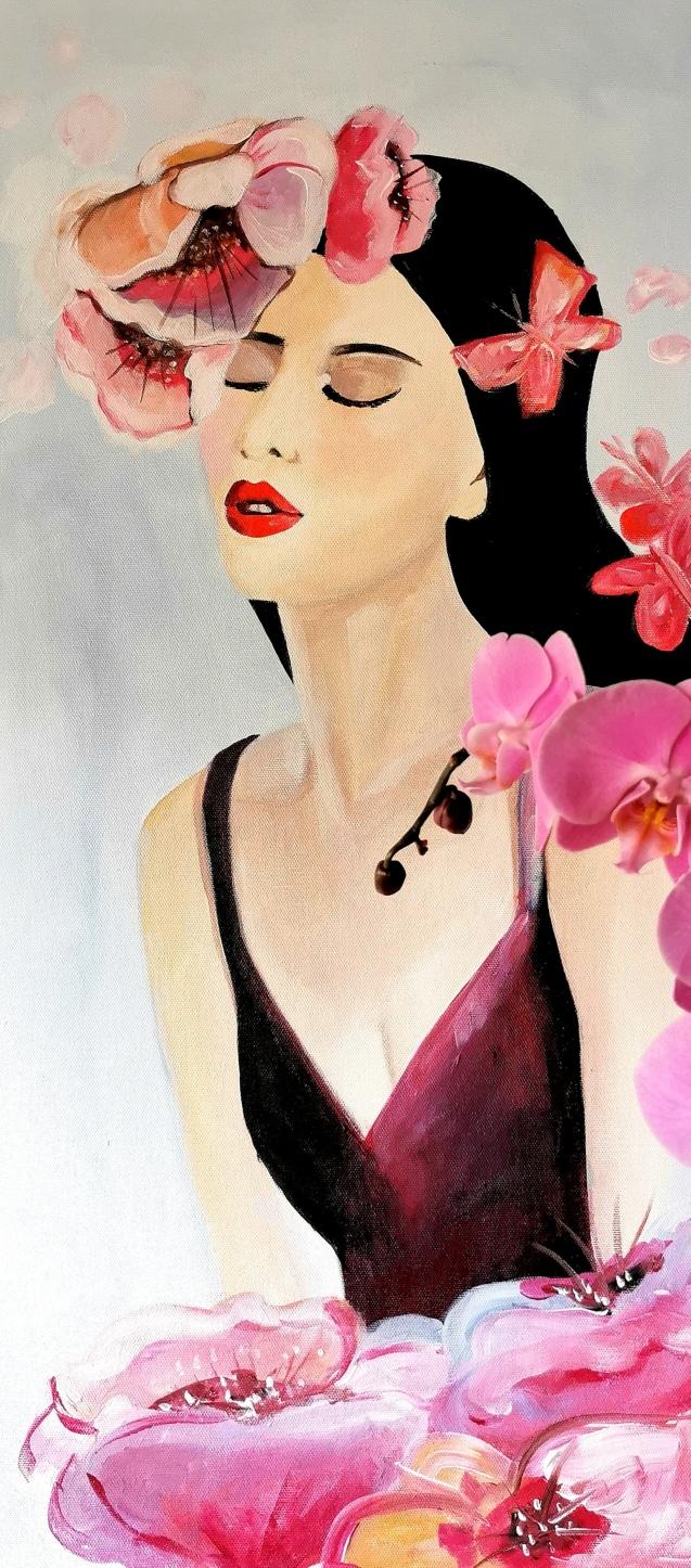 Cornelia, akril na platnu, 40x80 - figura žene sa cvijećem, tipična moja slika, predtavlja dodir s prirodom, ženski senzibilitet i romantiku
