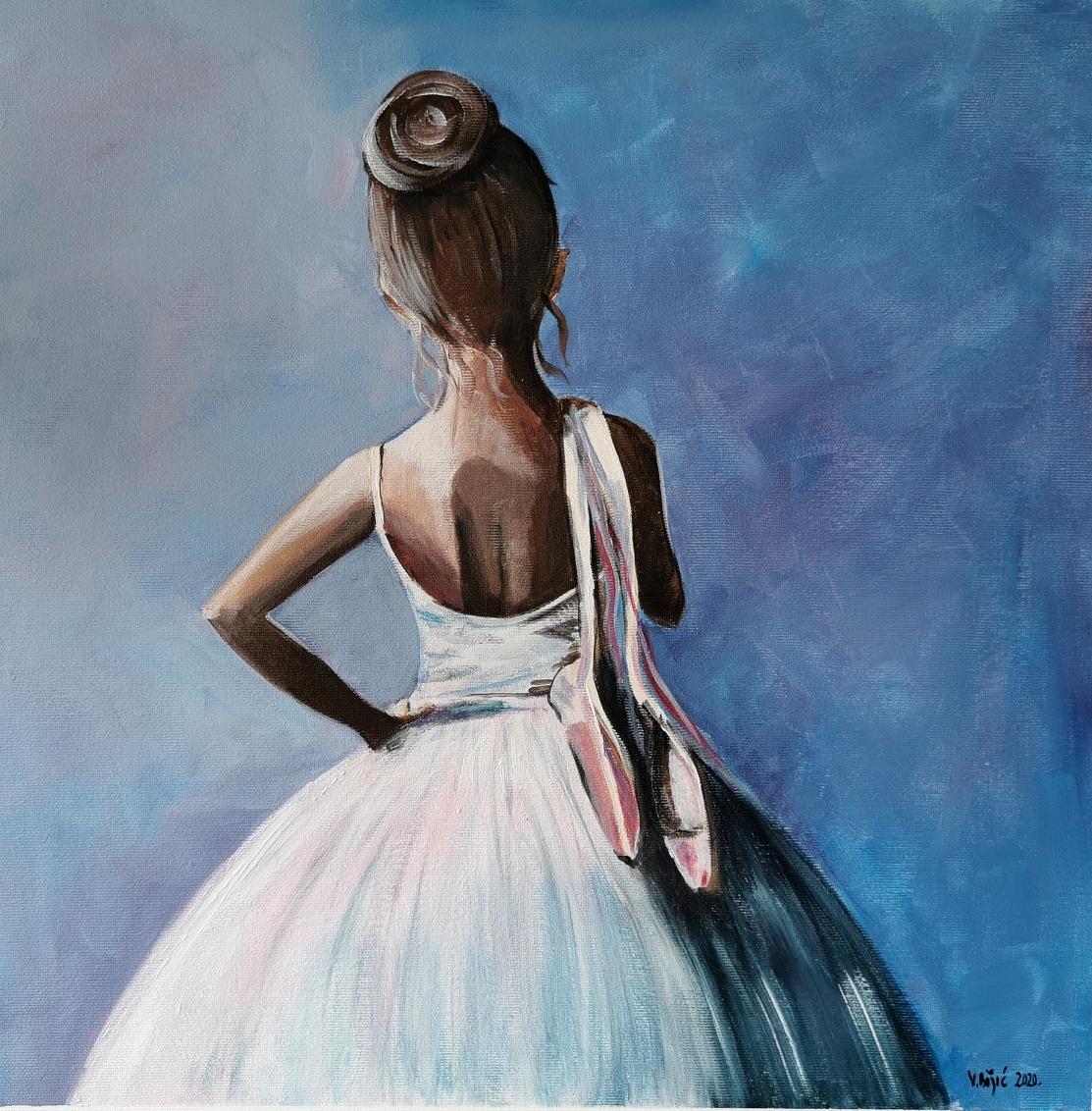 """""""Junior Balerina"""", akril na platnu, 50x50 - jos jedna tipično moja tema, balerina. Oduvijek slikam balerine, Degas mi je naravno uzor, a svaka balerina sama po sebi prikaz ženske ljepote, lakoće pokreta i senzualnosti"""